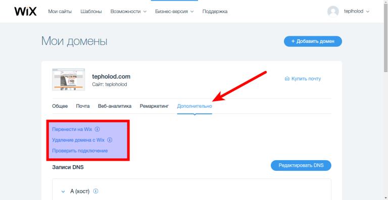 Список доменов в личном кабинете конструктора сайтов Wix