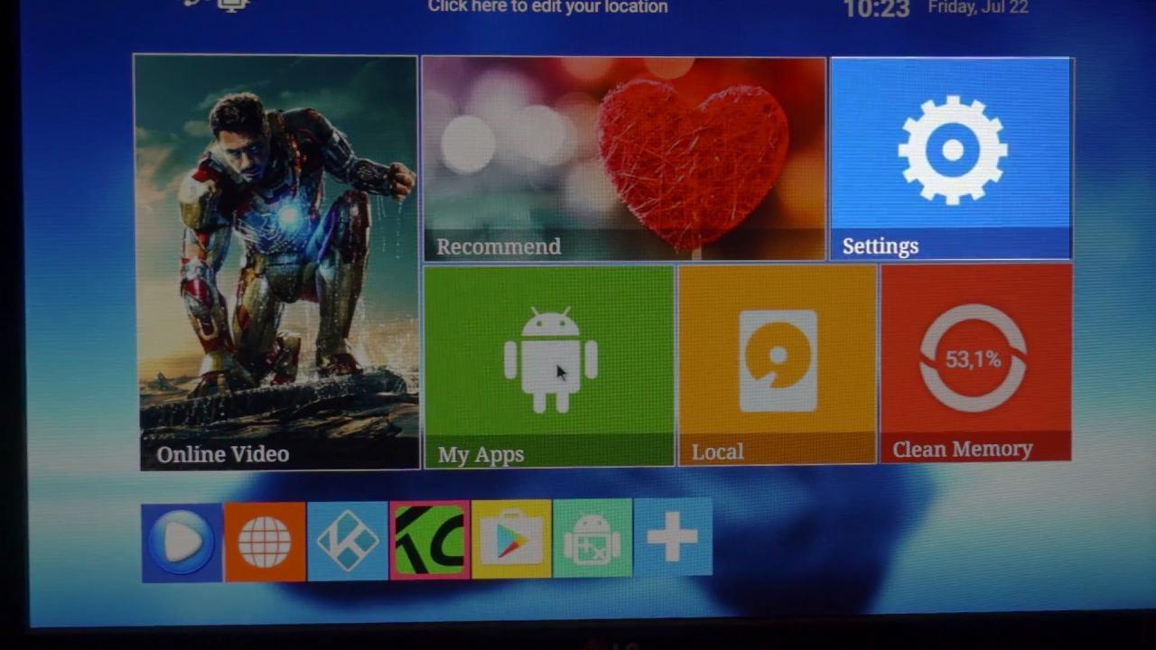 Главный экран приставки NexBox