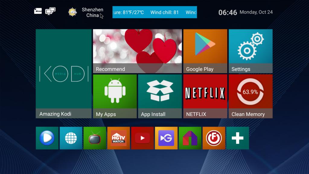 Стартовый экран приставки NexBox A95