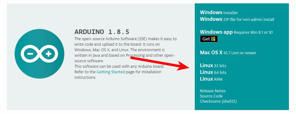 Страница загрузки IDE для Arduino для Linux Ubuntu