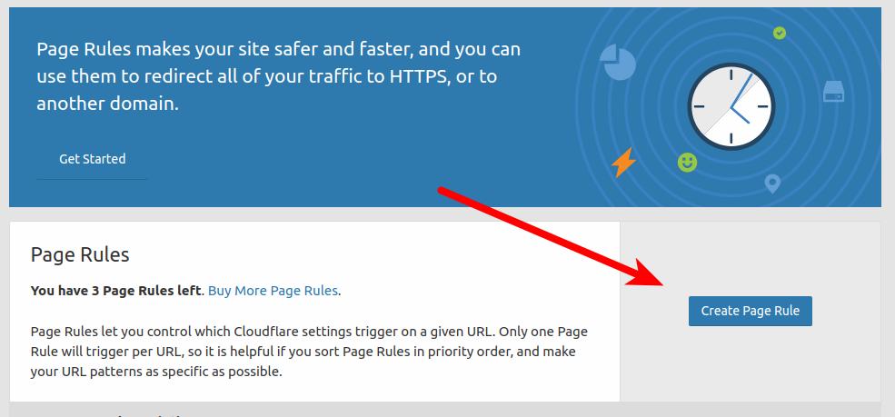 Кнопка для создания новой Page rules