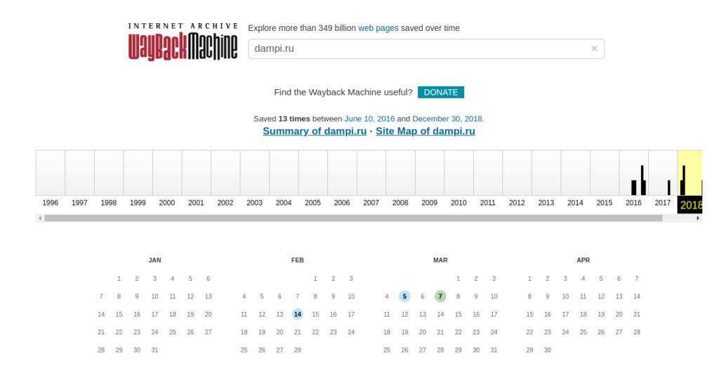 Страница со снапшотами сайта в виде календаря