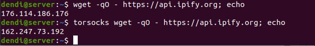 Результаты проверки соединения с Tor